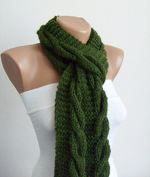 Cable Knit Scarf Cozy Hand Knit Scarf Mens Scarf by KnitsbyVara Hand ...