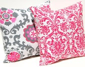 Pink Pillows Decorative Throw Pillow Covers Accent Pillows Cushion Covers 20 x 20 Inches Berry Pink and Gray Mix and Match