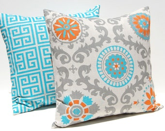 Decorative Throw Pillow Covers Turquoise, Orange and Gray on Natural Greek Key and Suzani 20 x 20 Inches Accent Pillows Cushion Covers