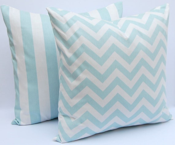 White Throw Pillows Etsy : Items similar to Throw Pillow Covers Decorative Pillows 18 x 18 Aqua and White Chevron Pillows ...