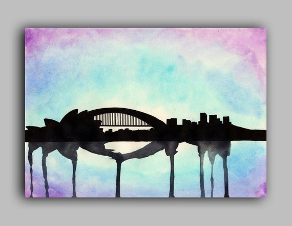Sydney Skyline Watercolour Print 5 x 7 Paint the