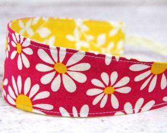 Reversible Fabric Headband- Children Toddler in Pink Yellow Daisy