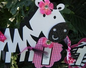 "Zebra ""it's a girl"" Baby Shower BANNER  in Hot Pink and Black and White -""Zebra-licious"""