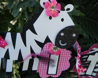 """Zebra """"it's a girl"""" Baby Shower BANNER  in Hot Pink and Black and White -""""Zebra-licious"""""""