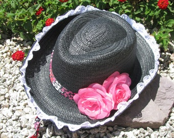 Cowgirl Hat -  Black White Red and Pink - Girls Cowboy Hat - Girls Western Theme Party Hat - Style CB72