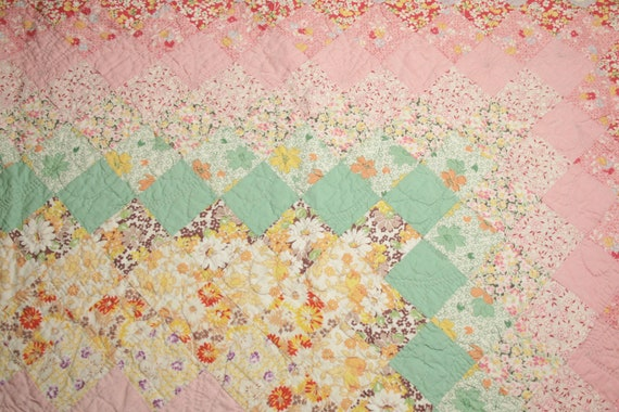 Pink and Green Vintage Quilt Piece with Lavender Backing and Lovely Hand Quilting - 24 x 21 Inches