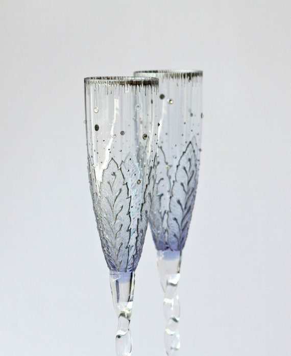 Wedding Champagne Flutes Hand painted Set of 2 Light Violet-Light Blue
