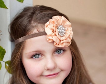 Baby Headband, Peach Baby Headband Dupioni Silk Rosette Vintage Headband Fascinator Couture Baby Toddler Women Headband Photo Prop NO.12-37