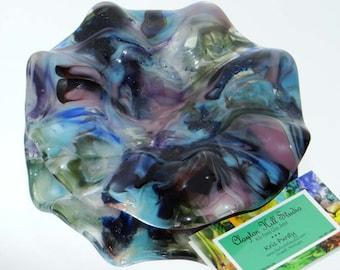 Blue Bling Bowl -  Fused Glass