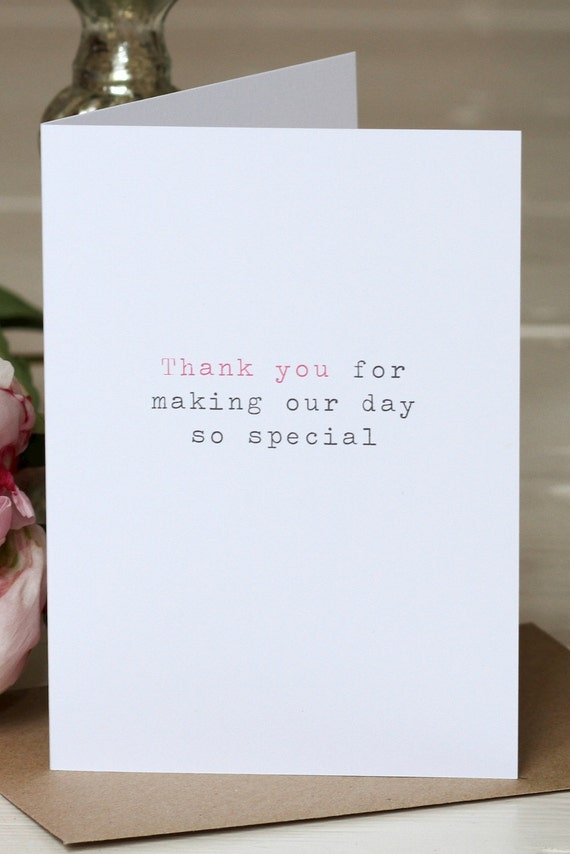 Wedding Thank You Card - 'Making Our Day So Special'