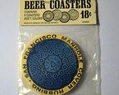 "20% off SALE ""SWEETLIFE"" Vintage Set of Beer Coasters San Francisco Manhole Cover Rubbing West Germany"