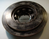 Gray and Black Drive Line Hub - Antique Foundry Pattern Mold Mirror