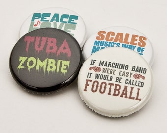Tuba Zombie plus three Marching Band and Music Buttons or Magnets - TBA 5