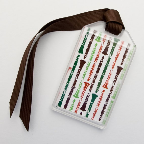 Clarinet Themed Musical Instrument ID Tag or Luggage Tag - Orange and Green