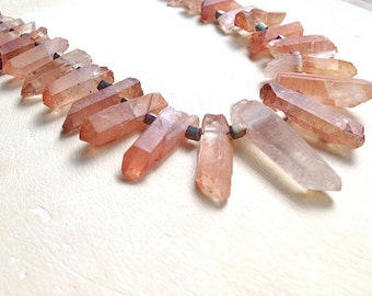 Tangerine Point Necklace- tangerine quartz points, Japanese glass and sterling silver