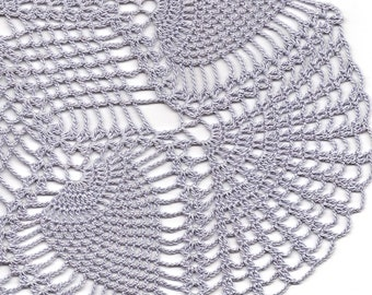Large Crochet Doilies Crochet pineapple doily lace doily table decoration crocheted place mat, doily tablecloth, table runner, napkin, lilac