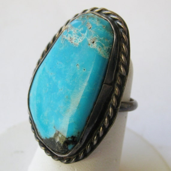 Vintage Old Pawn Silver  Fred Harvey Era Turquoise Navajo American Indian Ring size 4