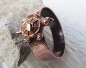 Cute solid copper turtle riveted ring size 12 free shipping