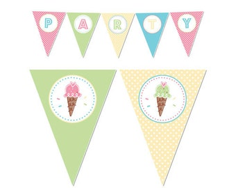 50% Off Sale! - PRINTABLE Pastel ice Cream Party Banners