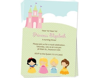 50% Off Sale - PRINTABLE Princess Party Invitation