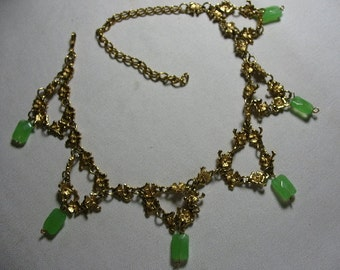 Vintage Renaissance Style Necklace with Green Glass Drops