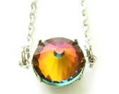 Rainbow Vintage Swarovski Crystal Necklace Pointed Top
