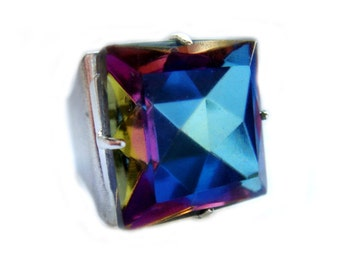 Square Rainbow Crystal Ring