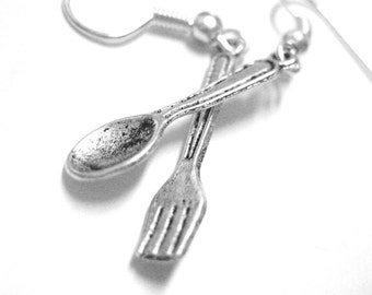Spoon and Fork Earrings - Spoon Jewelry - Fork Jewelry - Mismatch Earrings - Fork and Spoon Earrings