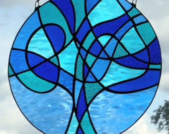 """Stained glass abstract """"Tree of Life"""" in blues"""