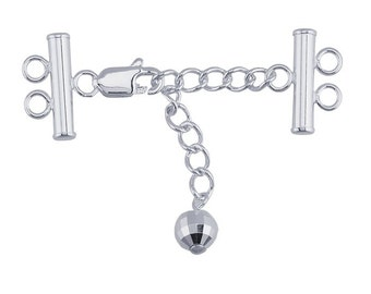 Sterling Silver Two-Strand Lobster Clasp with Extender Chain,