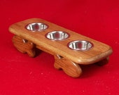 Cat Feeder,  One Pint Bowls, 4 Inches High, Solid Red Oak, FREE Staining