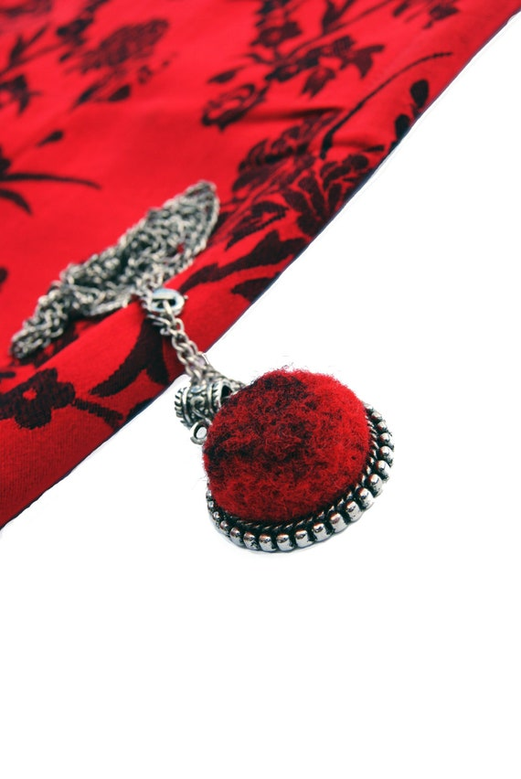 Elena's Felted Jewelry - Red Black Round Pendant Christmas Gift