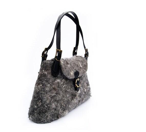 Grey Bag Grey Purse Boho Purse Wool Bag Felted Grey Purse Medium Purse