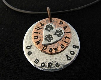 Custom Three Paw Pet Tripawd Pendant in Copper and Silver Aluminum, with Rivet