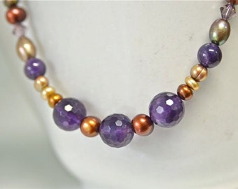 Natural Purple Amethyst Gemstone and Pearl Necklace made with Brown, Tan, Khaki & Bamboo Freshwater Pearls . Handmade in Maine