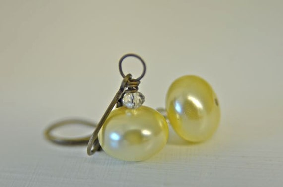 Ivory Glass Pearl Earrings for Bridesmaids or Friendship Earrings . Handmade in Maine
