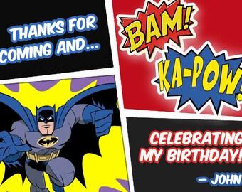 Batman thank you notes, batman diy print thank you cards, batman party thank you labels, batman party thank you notes, personalized notes
