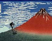 Mountain Biking Cycling Sports Print Hokusai MT. FUJI Red Fuji Racing