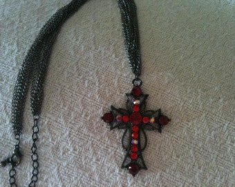 Gun Metal and Red Cross Necklace