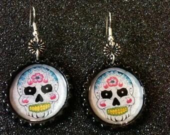 White Sugar Skull Bottle Cap Earrings