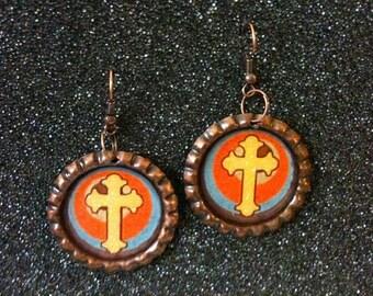 Antique Copper Bottle Cap Earrings with Cross