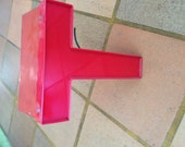 RED Reclaimed Metal and Vinyl Industrial Letter H (Neon Inside)