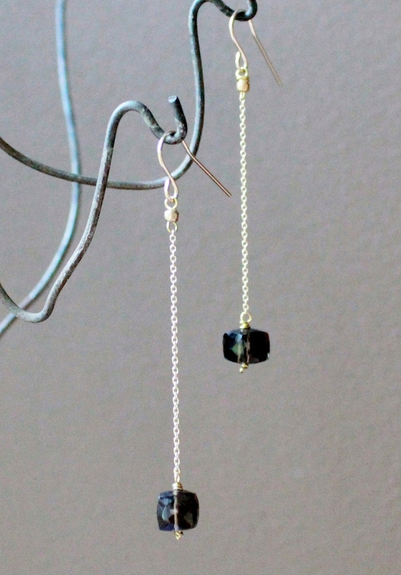 Simple faceted smoky quartz & gold filled chain dangle earrings