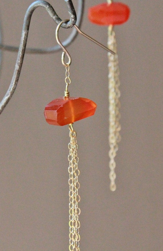 Simple orange chalcedony & gold chain long dangle earrings