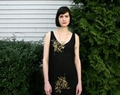 1990s Vintage Black Cocktail Dress with Gold Flowers