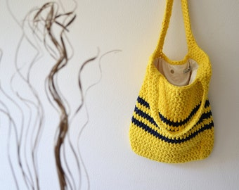 Summer Bag, crochet bag, Yellow Blue Tote for Beach and Market