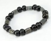 Mens Black Tribal Style Skater Bracelet