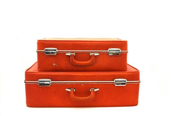 Vintage TANGERINE Invicta Suitcase Set