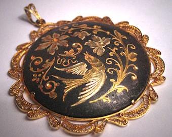 Antique Victorian Pendant Necklace Spanish Bird Gold