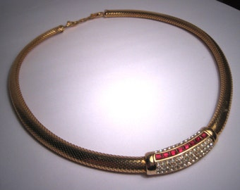 Vintage Christian Dior Necklace Choker Ruby France